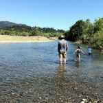 Wading and swimming in the Navarro River